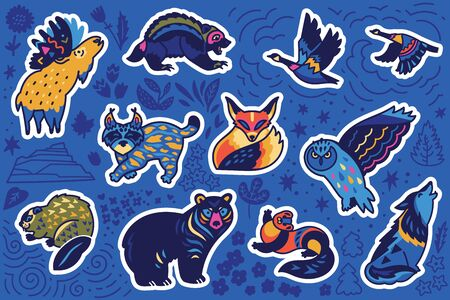 Canadian animal sticker set, decorative style. Badger, beaver, black bear, Canada lynx, grizzly bear and other. Perfect for fashion patches, pins, stickers, badges, temporary tattoos and other