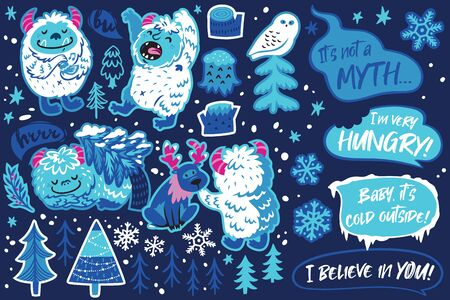 Bigfoot monster animal and winter objects sticker set, cartoon style. Perfect for fashion patches, pins, stickers, badges, temporary tattoos and other