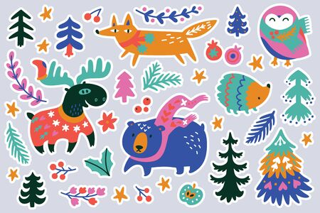 Christmas forest animal sticker set, cartoon style. Orange Fox, pink owl and blue bear in scarves, deer in the sweater and hedgehog. Perfect for fashion patches, pins, stickers, badges, temporary tattoos and other