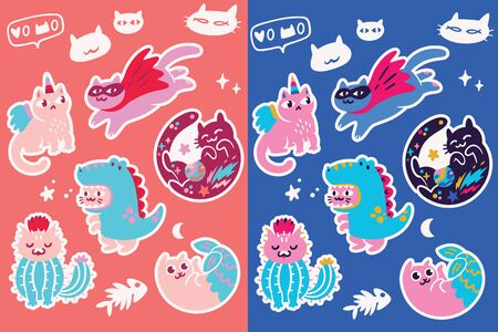 Cartoon cats sticker set, cartoon style. Cat unicorn, superhero, cat dino, cat mermaid, cat cactus and cat with comet. Perfect for fashion patches, pins, stickers, badges, temporary tattoos and other 向量圖像