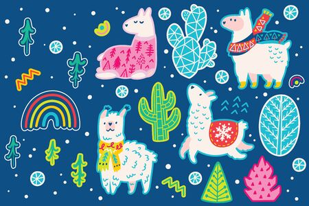 Christmas llama animal and decorative cactus sticker set, cartoon style. Perfect for fashion patches, pins, stickers, badges, temporary tattoos and other