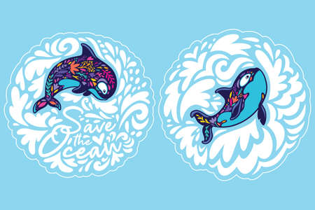 Orca whales surrounded by waves. Save the ocean. Sticker set. Vector illustration 向量圖像