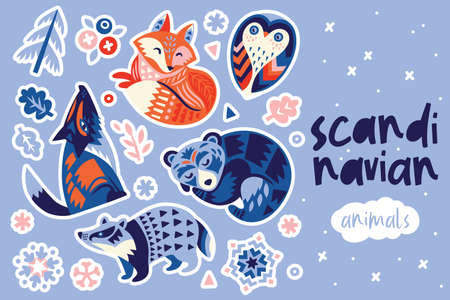 Scandinavian winter animals sticker set. Vector illustration