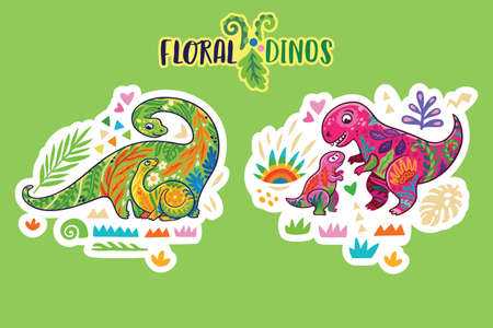 Floral dinosaurs. Sticker set. Vector illustration