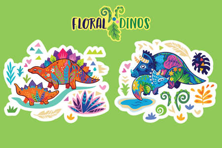 Floral dinosaurs. Bright sticker set. Vector illustration