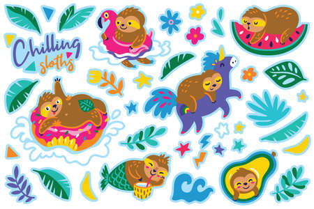 Chilling sloths in cartoon style. Sticker set. Vector illustration