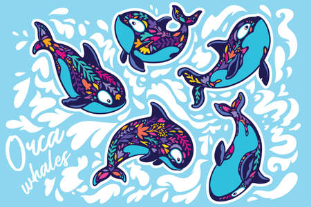 Orca whales surrounded by waves. Sticker set. Vector illustration 向量圖像