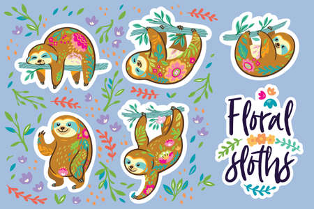 Beautiful floral sloths. Sticker set. Vector illustration