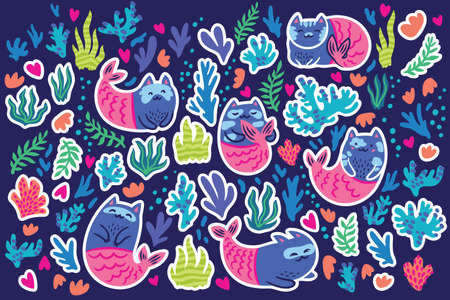Cat mermaids, seaweeds and corals sticker set. Vector illustration 向量圖像