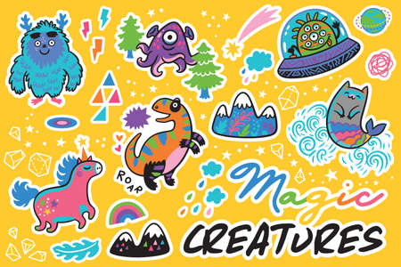 Magic creatures. Sticker set. Vector illustration