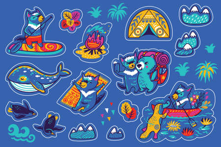 Summer vacation in Tasmania sticker set. Vector illustration