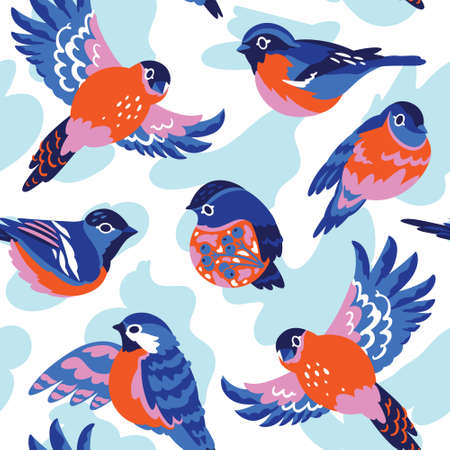 Bullfinches vector pattern