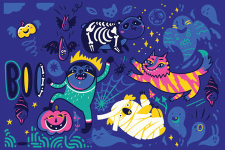 Halloween vector illustration with sloth, panda, koala and tiger in the costumes