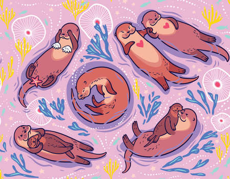 Cute lovely sea otters vector pattern