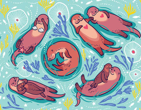 Vector pattern with cute lovely sea otters 向量圖像
