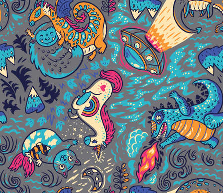 Myth or not cartoon seamless pattern Illustration