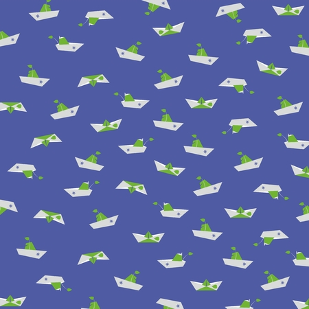paper boat: Paper boat on a deep blue background.