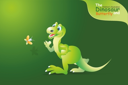 catching: Dinosaur running after a butterfly. This fun illustration of a dinosaur, catching a flying butterfly. Cognitive children. Stock Photo