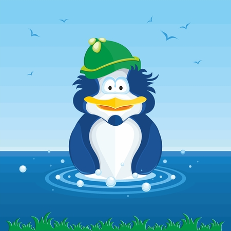 decided: Penguin swims in water. This illustration of a funny penguin cub, who decided to take a dip.