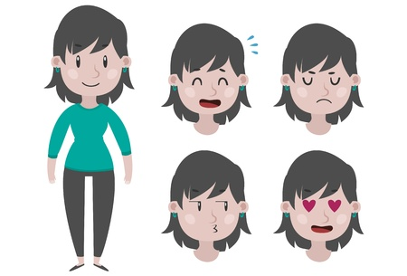 expressing negativity: Girl and expressions
