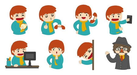 set going: Set of vector illustrations of a cartoon man, in the context of an office