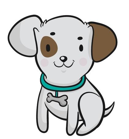 lap dog: Little Dog illustrazione vettoriale di un simpatico cane cartone animato
