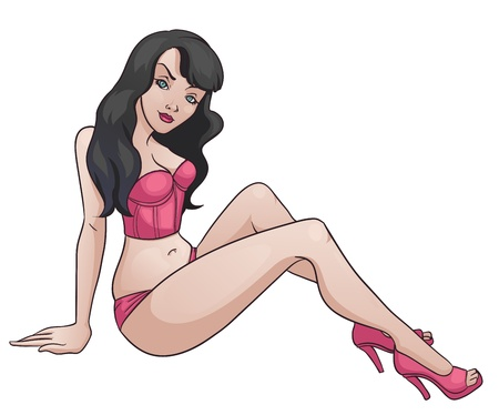 Sexy Lady  Vector illustration of a sexy cartoon woman, wearing a corselet and high heels  Vector