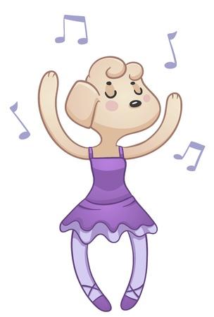 Dancing Dog illustration of a cartoon dog dancing ballet and wearing ballet clothes  Ilustração