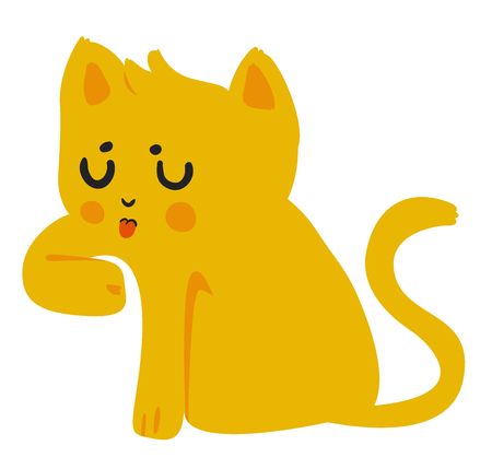 primary color: Yellow Cat Licking Paw