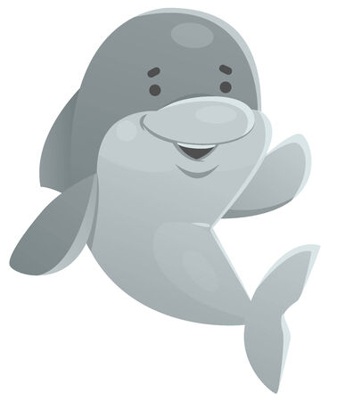 no background: Vector illustration of a cartoon dolphin waving. It looks happy and cute. No background, 1 layer only.