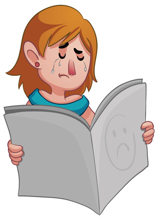 bad news: Vector illustration of a sad cartoon woman holding a newspaper. One group and layer only. Illustration