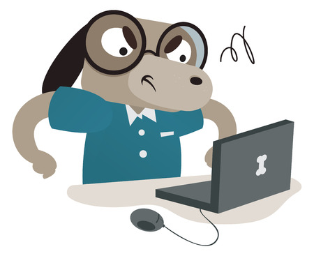 nerdy: Vector illustration of a cartoon nerdy dog using a computer. One group and layer only.