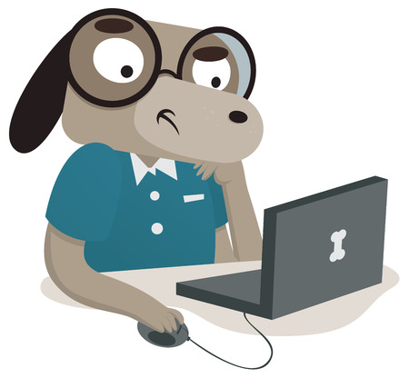 concerned: Vector illustration of a cartoon nerdy dog using a computer. One group and layer only.
