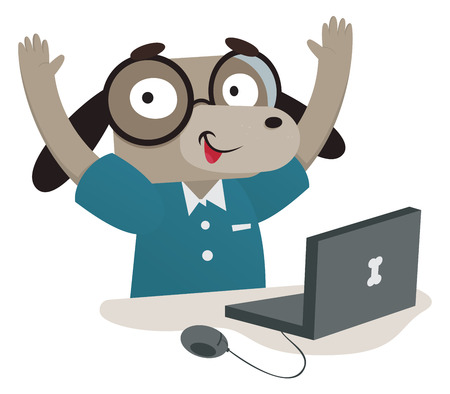Vector illustration of a cartoon nerdy dog using a computer. One group and layer only.