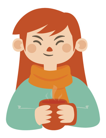 girl with long hair: Vector illustration of a cartoon girl holding a mug of hot beverage.