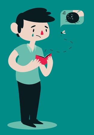 illustration of a cartoon man opening his wallet while a fly is flying out of it. 向量圖像