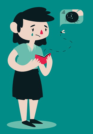 Vector illustration of a cartoon woman opening her wallet while a fly is flying out of it.  向量圖像