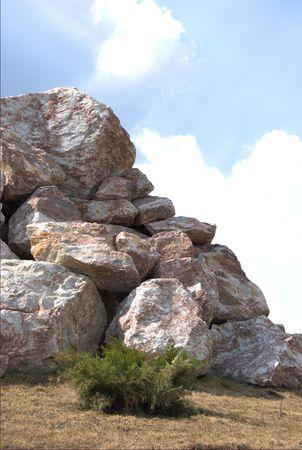 stone, rock, cloud, bush, landscape, mountains, great, small