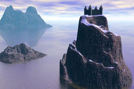 castle; mystical; mountain; sea; sunset; 3d; three-dimensional; fantasy photo