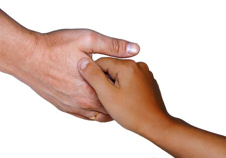 The mans and childrens hands, are isolated on a white background. Stock Photo