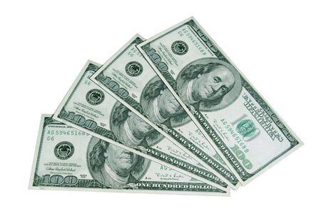 Fan de dollars, est isol� sur un fond blanc. Banque d'images