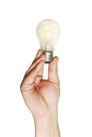 The shone lamp in the hand, is isolated on a white background Stock Photo - 3732775