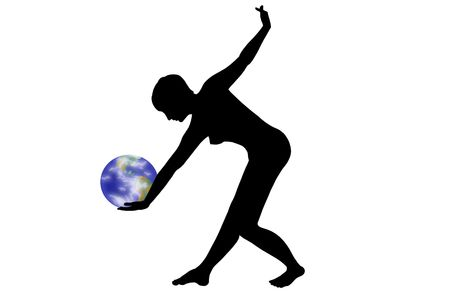 which: Human silhouette, which supported Earth in the hands Stock Photo