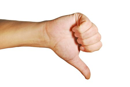 downwards: Disagreement hand gesture on a white background Stock Photo