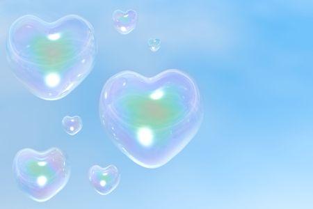 Les bulles de savon iris�es du c?ur, sont ex�cut�s dans la 3d-editor Banque d'images