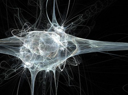 The white neuron fractal on a black background Stock Photo