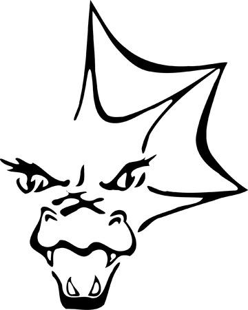 opened mouth: Blanco y negro silueta de drag�n con la boca abierta