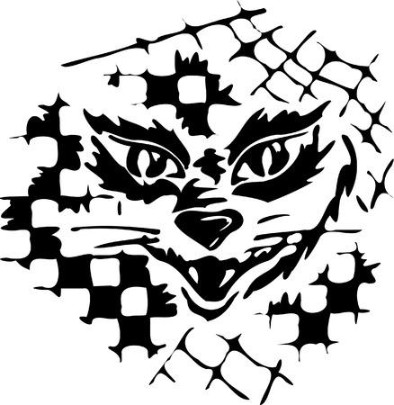 opened mouth: Blanco y negro la silueta del gato con la boca abierta Vectores