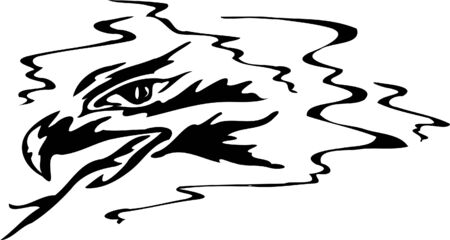 divided: Black and white silhouette of eagle with the divided tongue Illustration