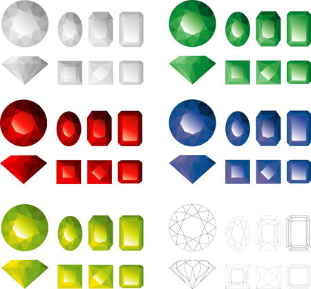 Jems of different colours and facet types